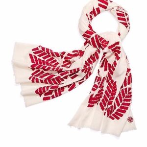TORY BURCH Ivory/Red Oblong Palmetto Scarf/Wrap